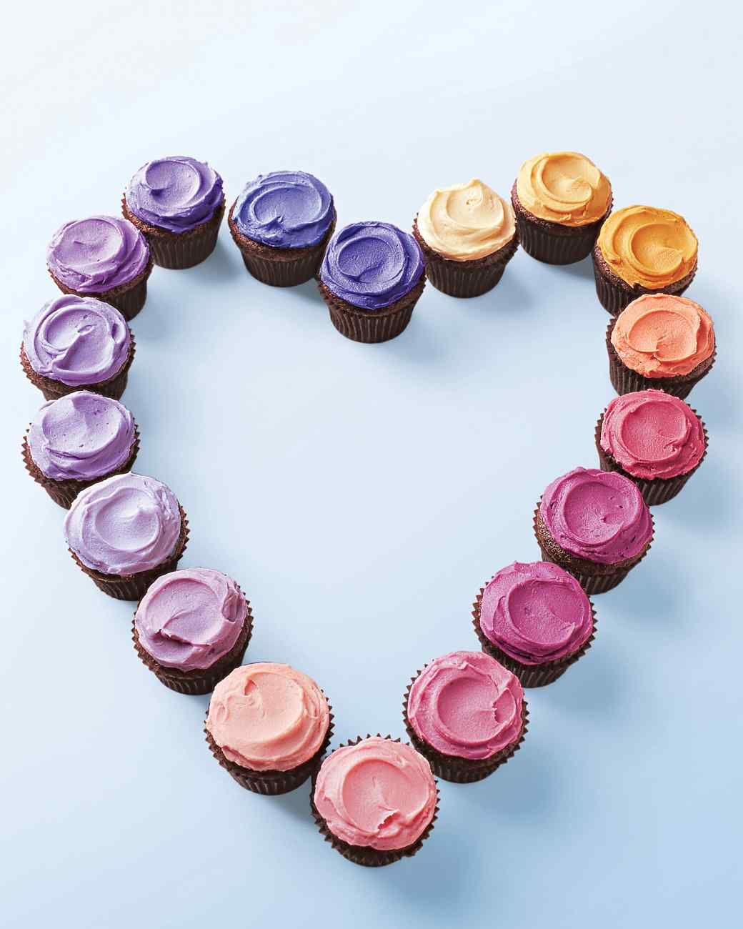 Mini Chocolate Cupcakes With Multicolored Frosting For Valentines Day