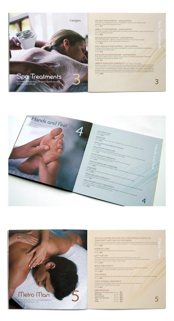 Spa Brochure Design  Spa Massage Menu Ideas