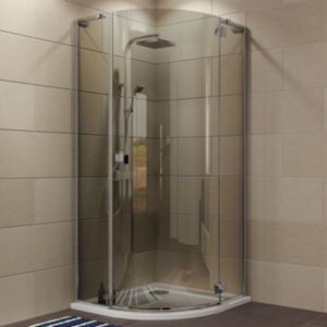 Cooke Lewis Luxuriant Quadrant Shower Enclosure With Hinged Door Smoked Glass W 900mm D 900mm Quadrant Shower Quadrant Shower Enclosures Shower Enclosure