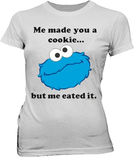 b8470ffe1c7 Sesame Street Cookie Monster Me Eated It Silver Juniors T-shirt