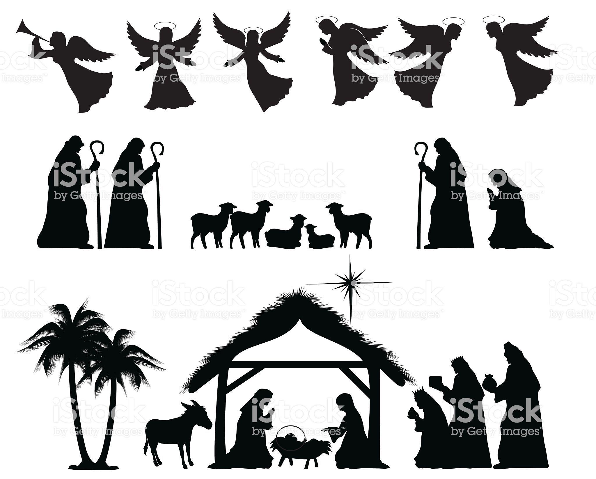 Christmas Nativity Silhouette. ZIP contains AI format, PDF