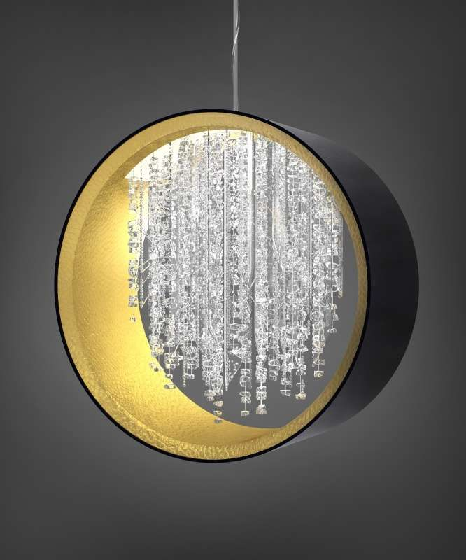 Light fixture of circle shape and with modern crystal trimmings | Sans Souci & Glass Deco