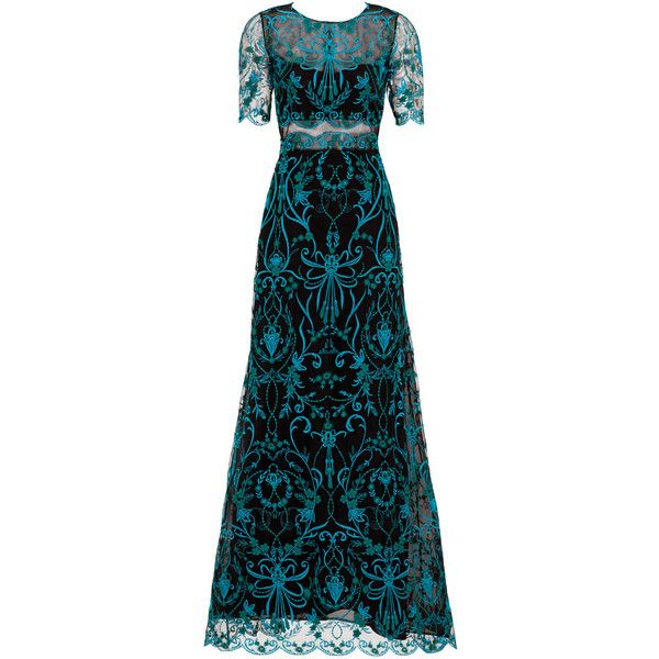 3b2cda26 Rental Marchesa Notte Teal Elizabeth Gown ($175) ❤ liked on Polyvore  featuring dresses, gowns, black dress, black ball gown, teal evening dress,  teal ball ...