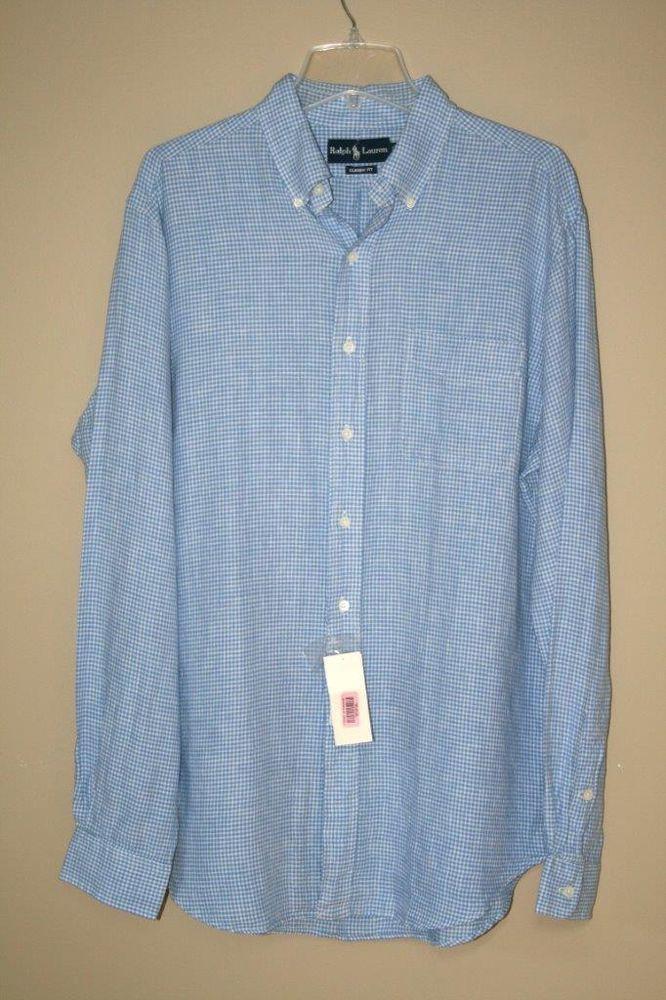 NWT $165 Ralph Lauren Classic Fit Blue Check Long Sleeve Linen Shirt size L #RalphLauren