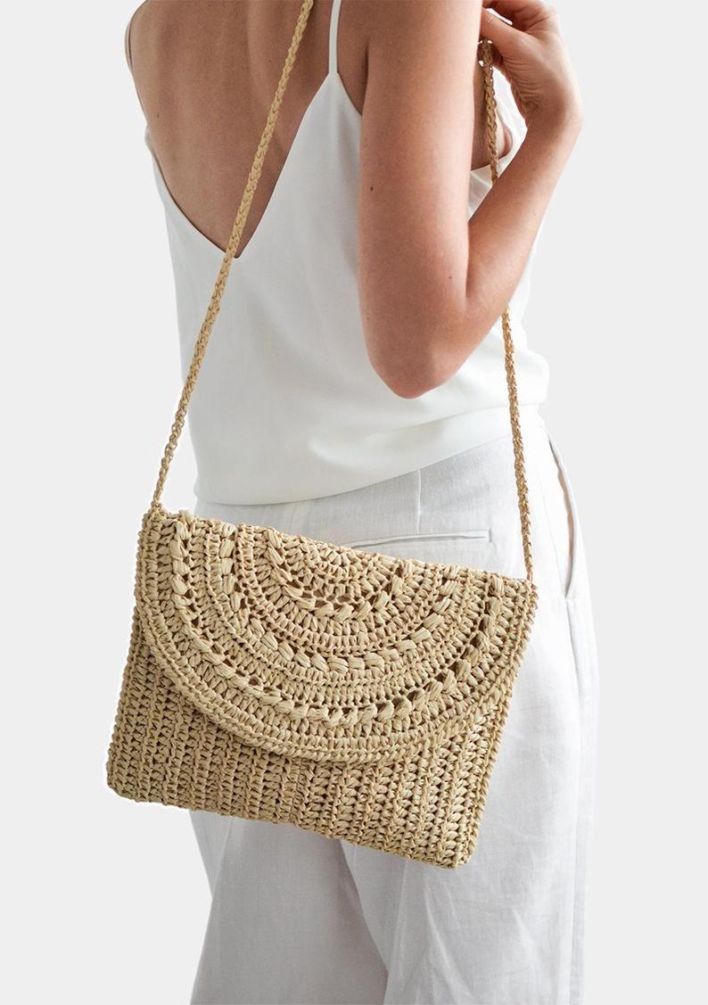 Borse Estive Tracolla.Crochet Raffia Clutch Cross Body Purse Raffia Spalla Bag Borsa