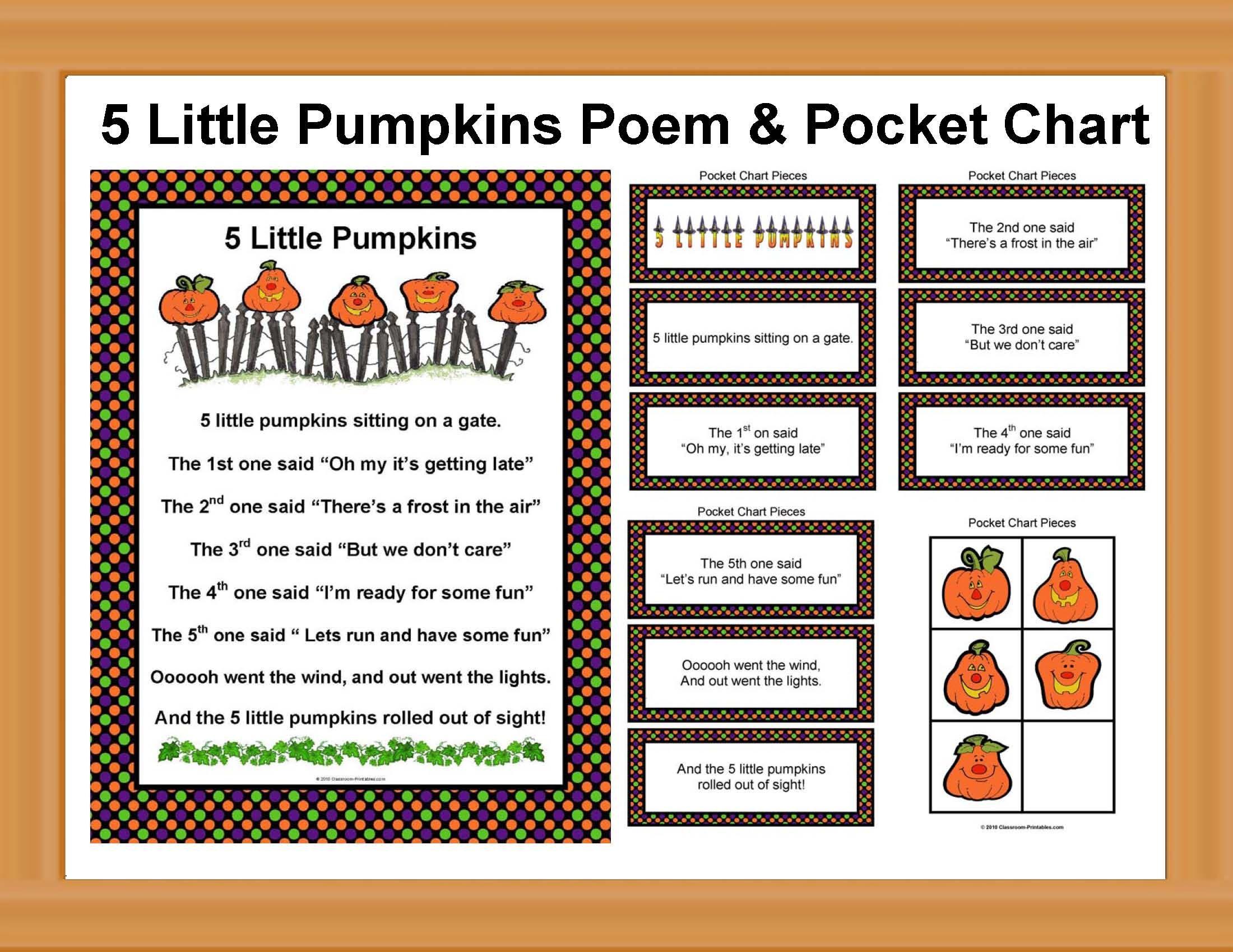5 Little Pumpkins Poem With Pocket Chart Pieces