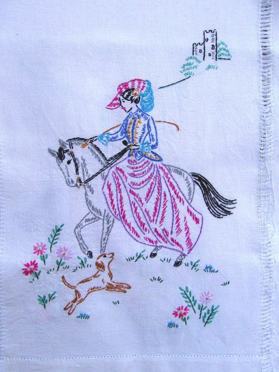 Vintage Hand Embroidered Woman Riding a Horse table runner by jenEembroidery, $28.00