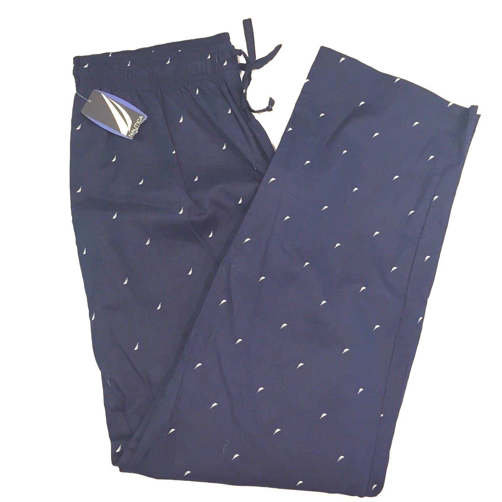 7fb4e5d0a9 New Nautica Signature Mens Pajama Pants Sailboat Logo Large Lounge Navy  Blue | eBay