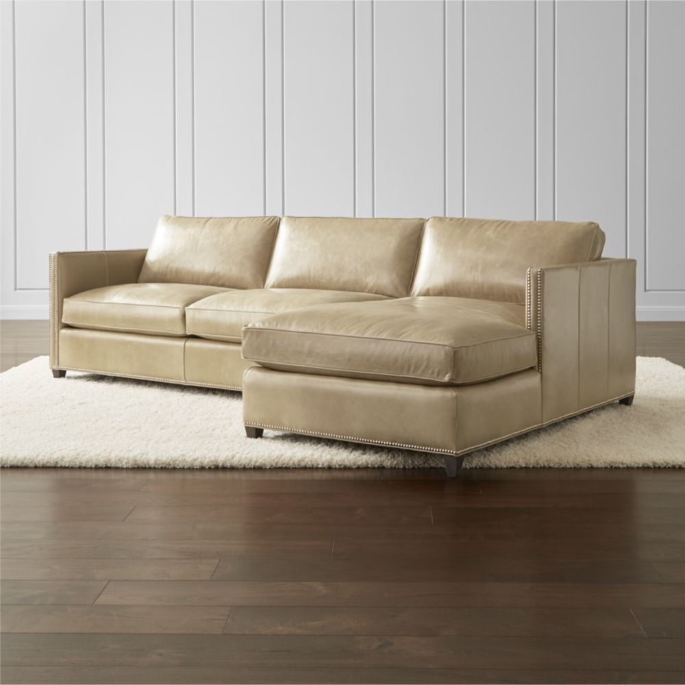 Furniture Sectional Sofas Dryden Leather Sectional Pieces With Nailheads