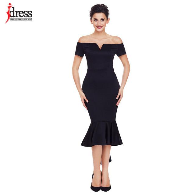 IDress Party 2018 Robe Femme Club Dresses New Fashion Sexy Black Off the  Shoulder Short Sleeve 1097e75ef53d