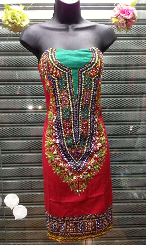 AfrIcan Print Strapless Beaded Dashiki Dress. via Etsy.