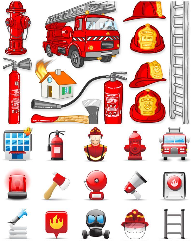 fire station cartoon fire fighting helmet fire truck siren axe fire station loudspeaker [ 800 x 1000 Pixel ]