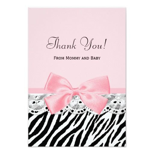 Baby Thank You Pink Ribbon and Lace Zebra Print Custom Invites