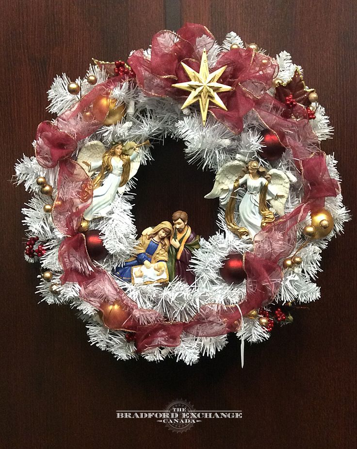 Thomas Kinkade Christmas Nativity Wreath Decorated With Angels Real