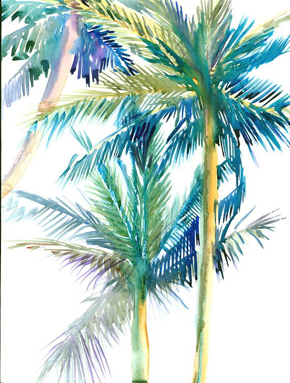 Palm Trees Original Watercolor Painting 16 X 12 In Sage
