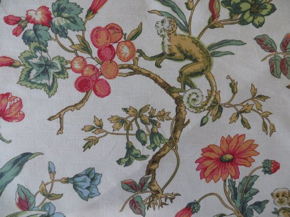 Vintage P/Kaufmann Decorator Fabric - Floral Monkey Jungalow