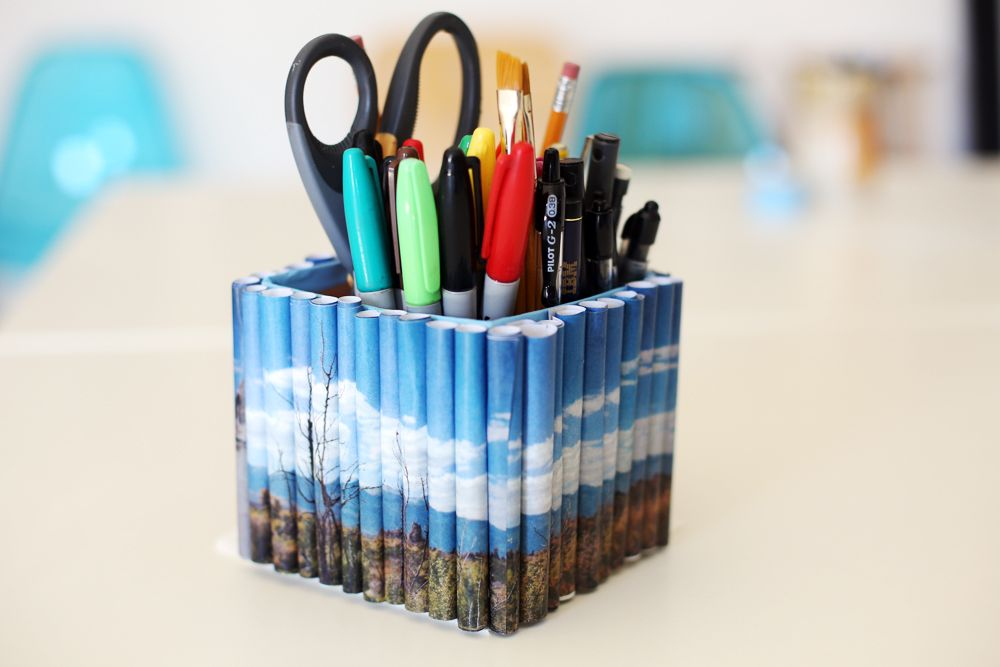 Diy photo roll pencil holder craft diy pinterest Diy pencil holder for desk