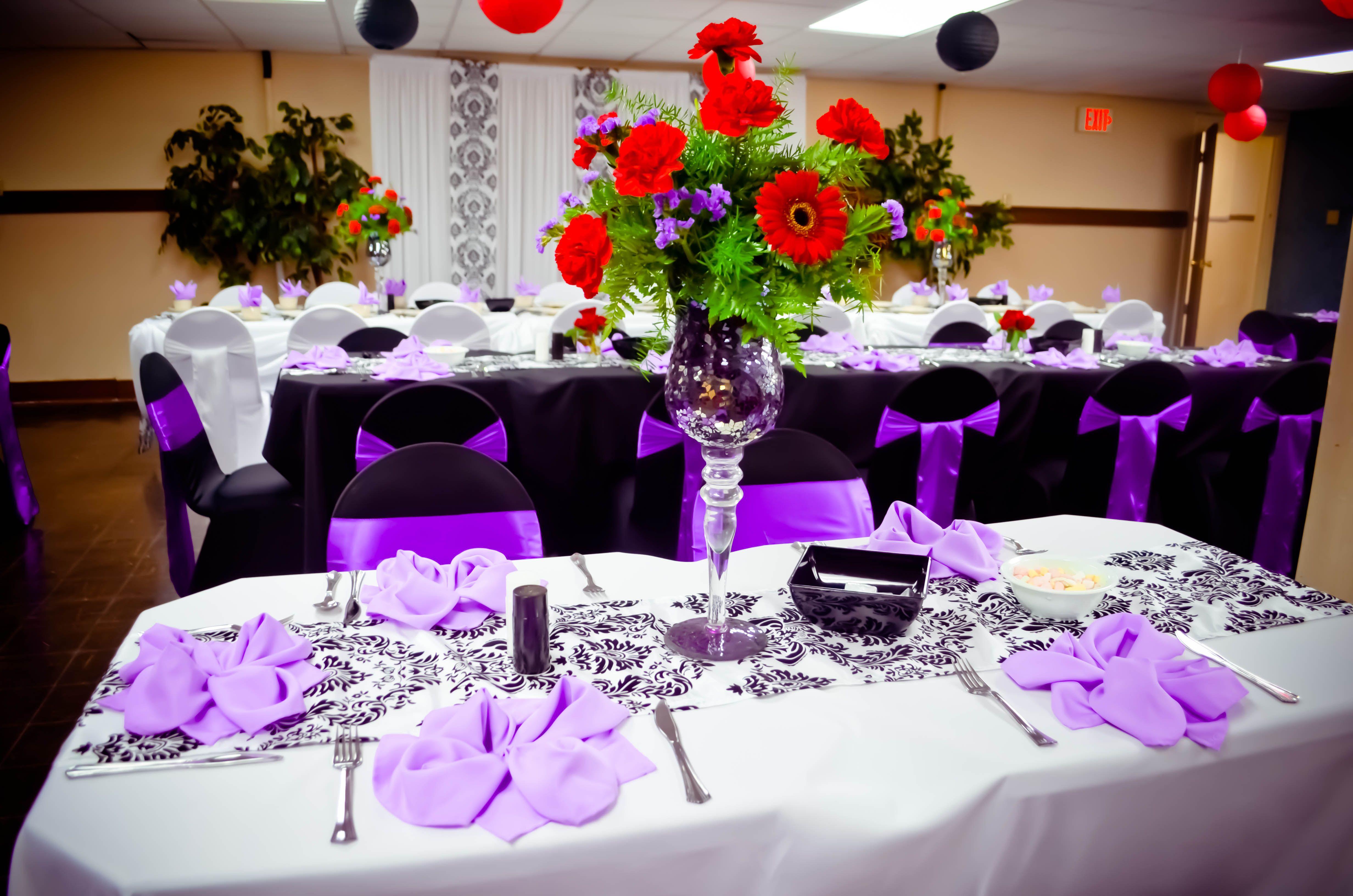 Event Black & White Spandex Chair Covers Purple Satin Sashes