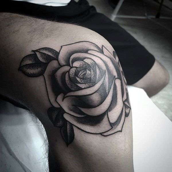 Traditional Knee Rose Flower Mens Black Ink Shaded Tattoo Knee Tattoo Tattoo Shading Tattoos For Guys