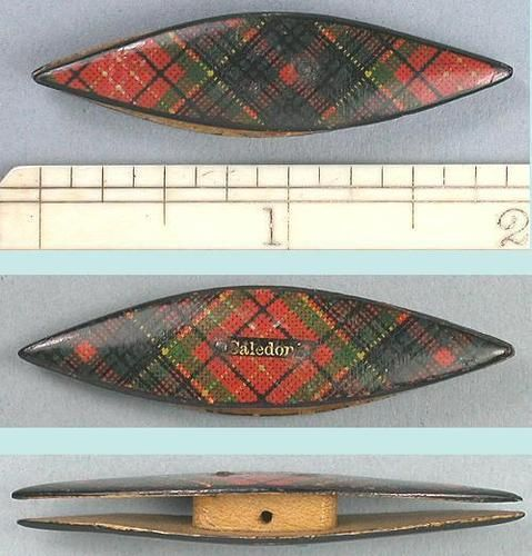 Antique Scottish Caledonia Tartan Ware Child's Tatting Shuttle; Circa 1870