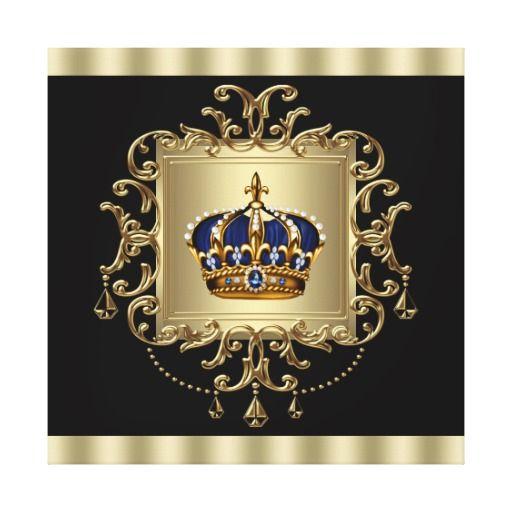 Elegant Black And Gold Crown Canvas Wall Art Print Zazzle Com Blue Canvas Art Wall Art Prints Canvas Wall Art