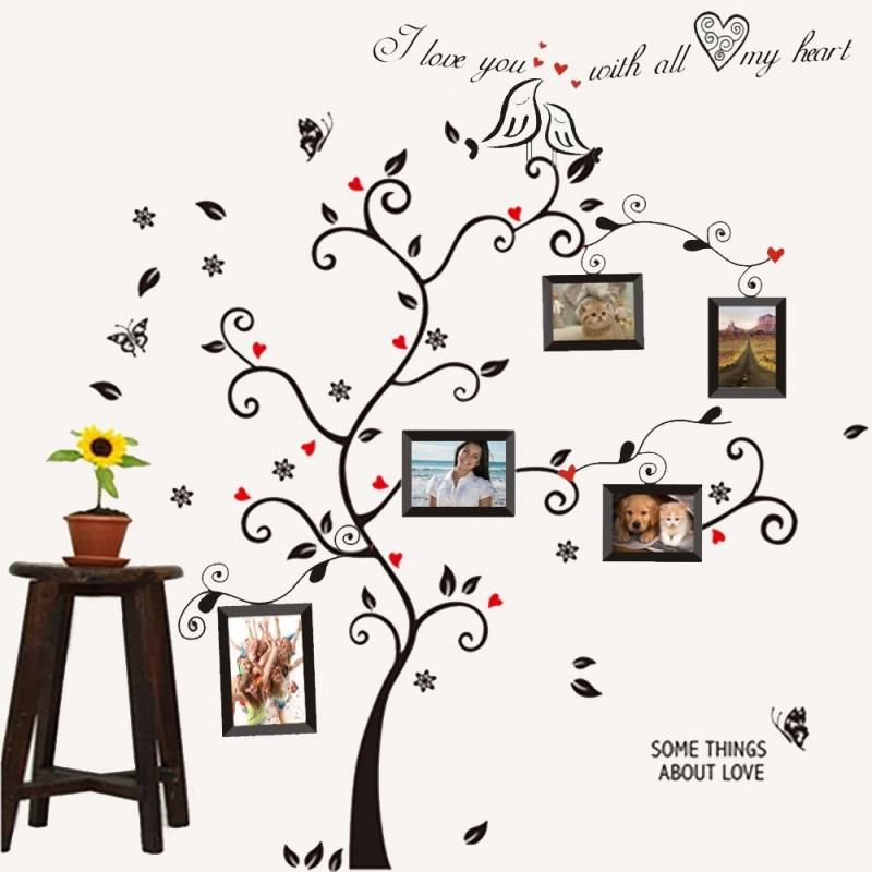Kiss Bird Tree Heart Leaves Black Photo Picture Frame Decal ...