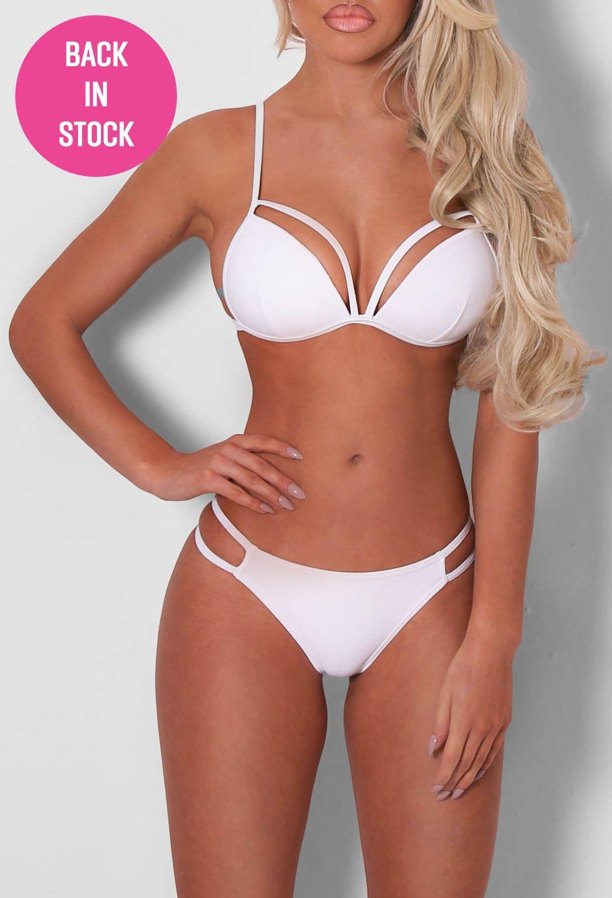 4acb617919 Audry White Strappy Bikini - 8 | swimwear | Bikinis, White bikinis ...