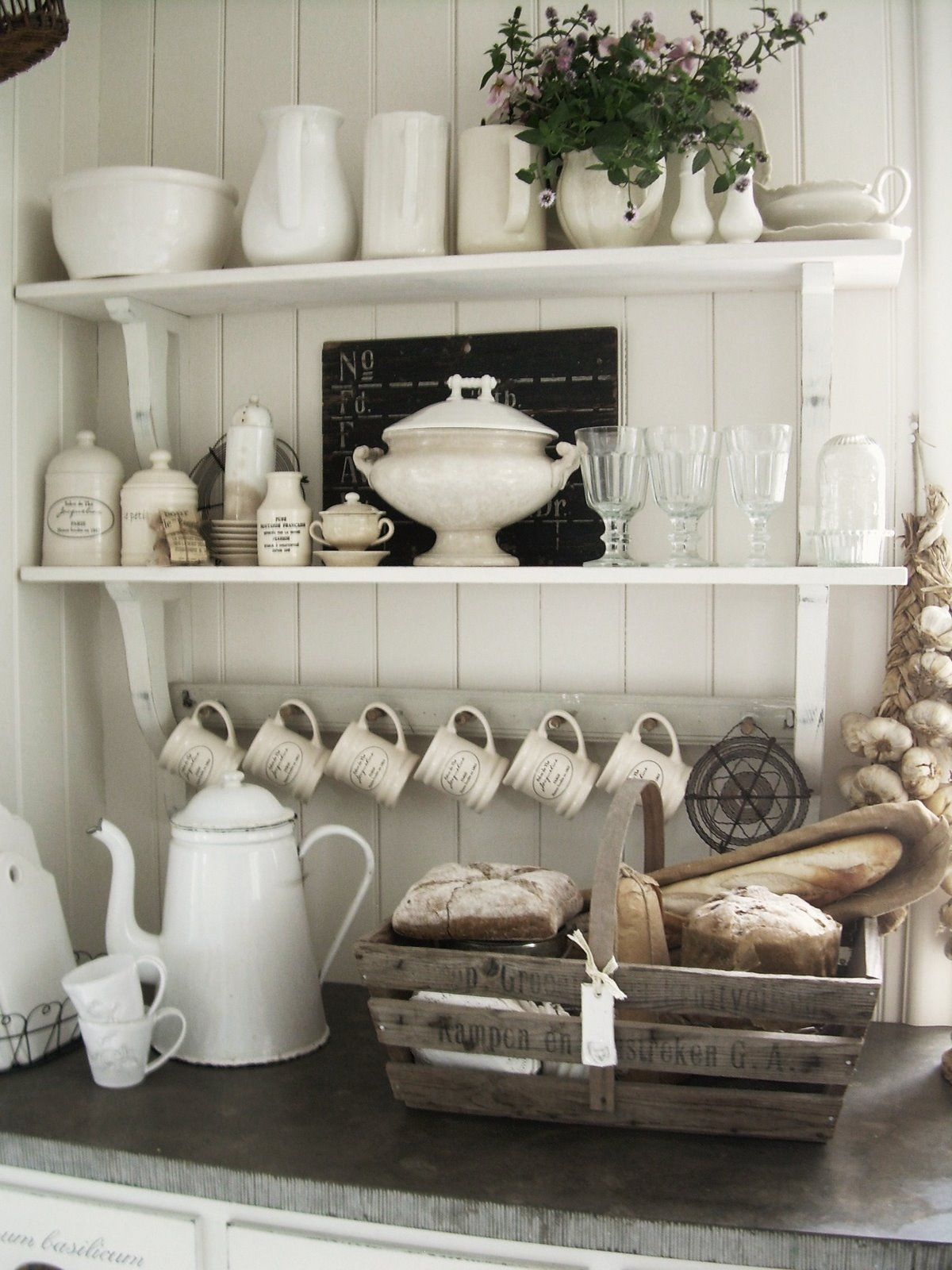 kitchen shelves and mug hooks