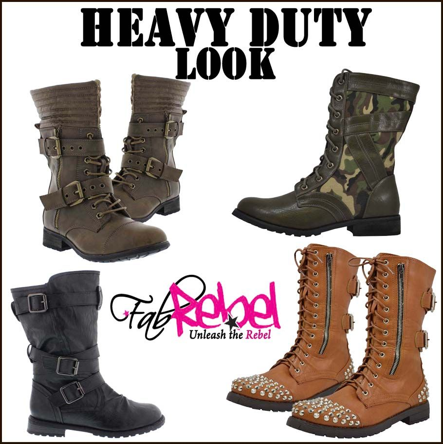 HEAVY DUTY LOOK! Lace up & buckle up on these tough combat boots www.fabrebel.com #shoe #boots #combatboots #buckles #laceup #bold #stylish #iloveshoes