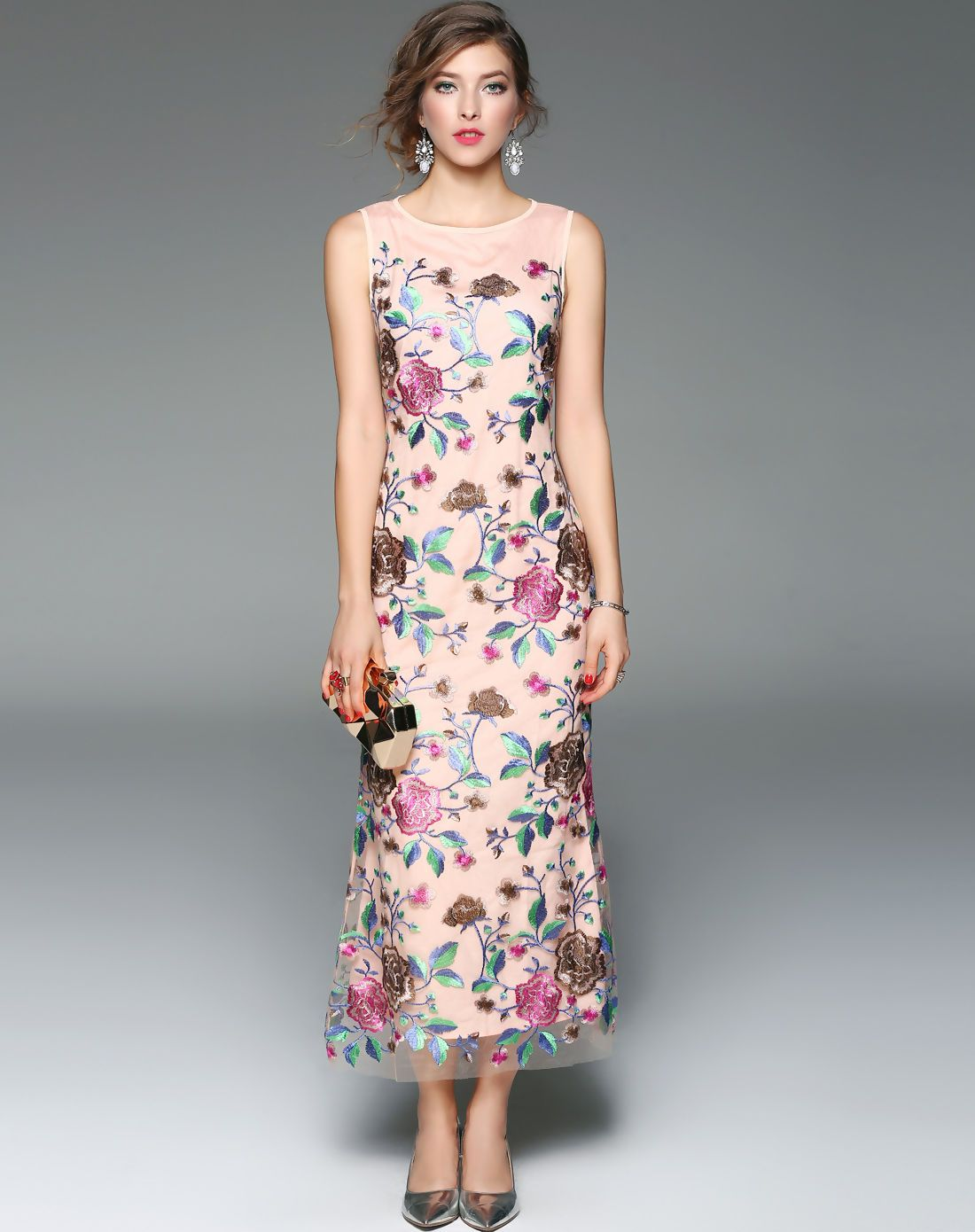 358d2026e90d  AdoreWe  VIPme Bodycon Dresses - ZERACO Apricot Floral Embroidered Bodycon  Party Maxi Dress - AdoreWe.com
