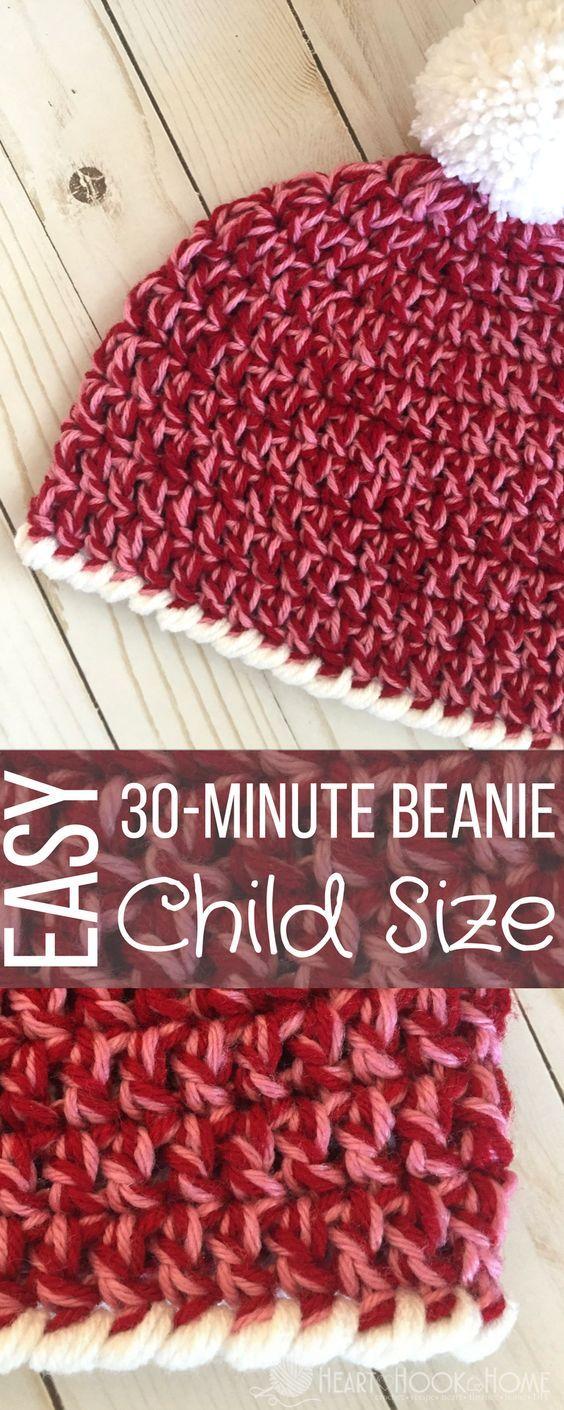 Child Size Easy 30-Minute Beanie Crochet Pattern | bebe | Pinterest ...
