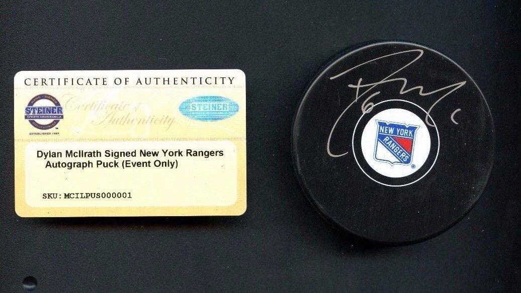 Dylan McIlrath New York Rangers Signed Puck AUTO Steiner COA AUTHENTIC   Hockey 7cea1756c