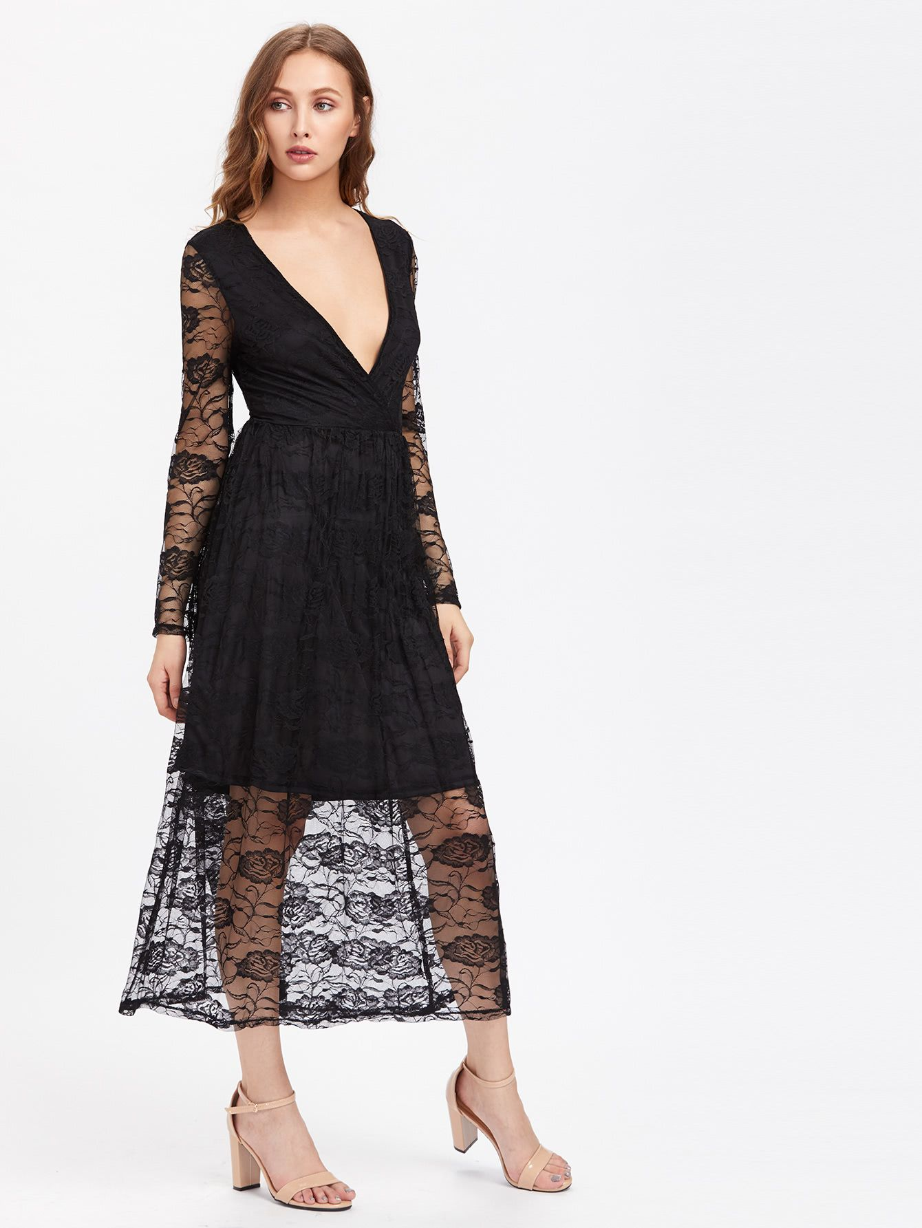 Plunging V Neckline Lace Dress Black Lace Midi Dress Lace Dress Lace Midi Dress [ 1785 x 1340 Pixel ]