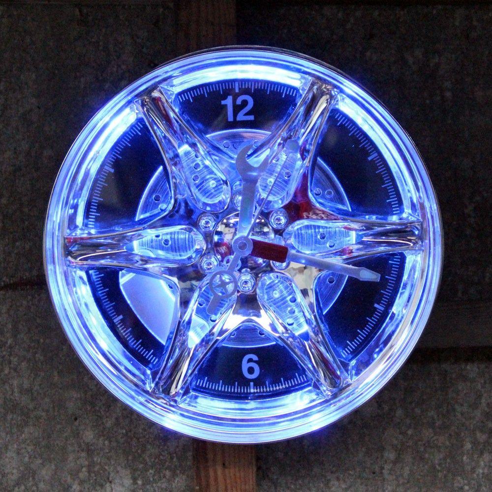 Neon Rim Car Wheel Wall Clock Car Tyre Wall Clock Gifts