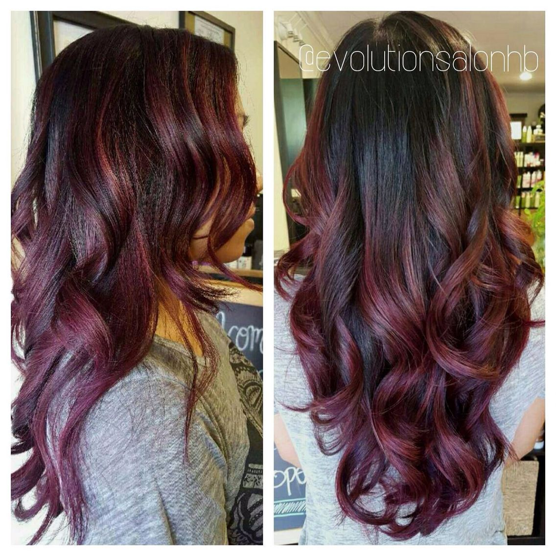 Picture of black and magenta balayage hair - Black To Maroon Ombr Hair