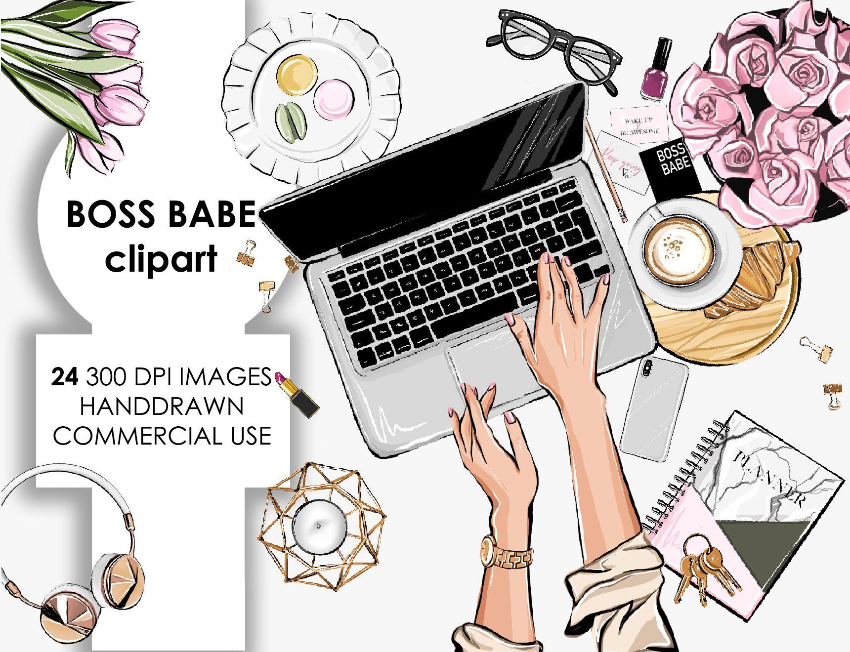 Boss babe planner girl clipart girl boss clipart flatlay