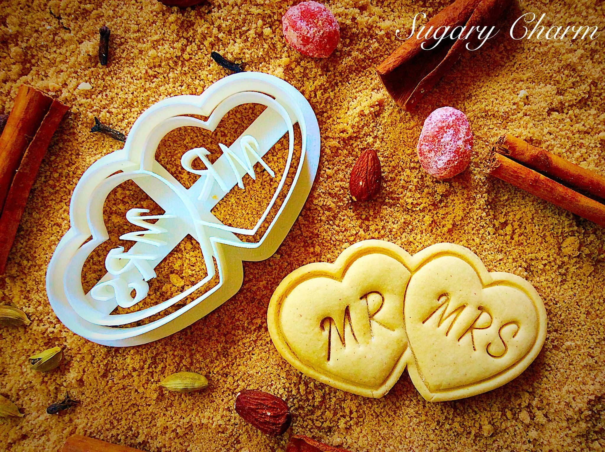 Ms. & Mrs. cookie cutter Wedding cookies, Wedding gift