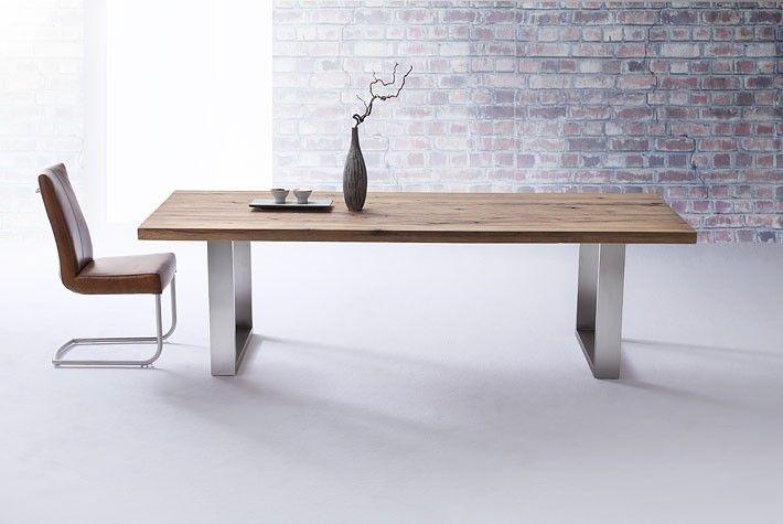 Esstisch Aus Massiv Eiche, Tisch Mit Einem Gestell Aus Metall, Maße 220 X  100