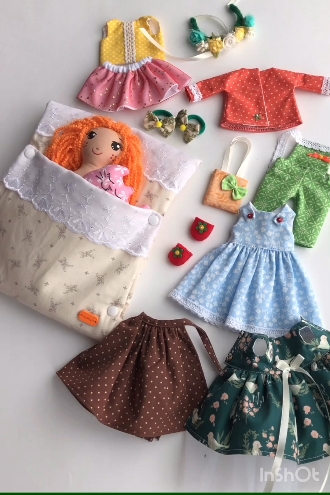 Easter gift for girl, handmade rag doll, doll with clothes set, doll with red hair
