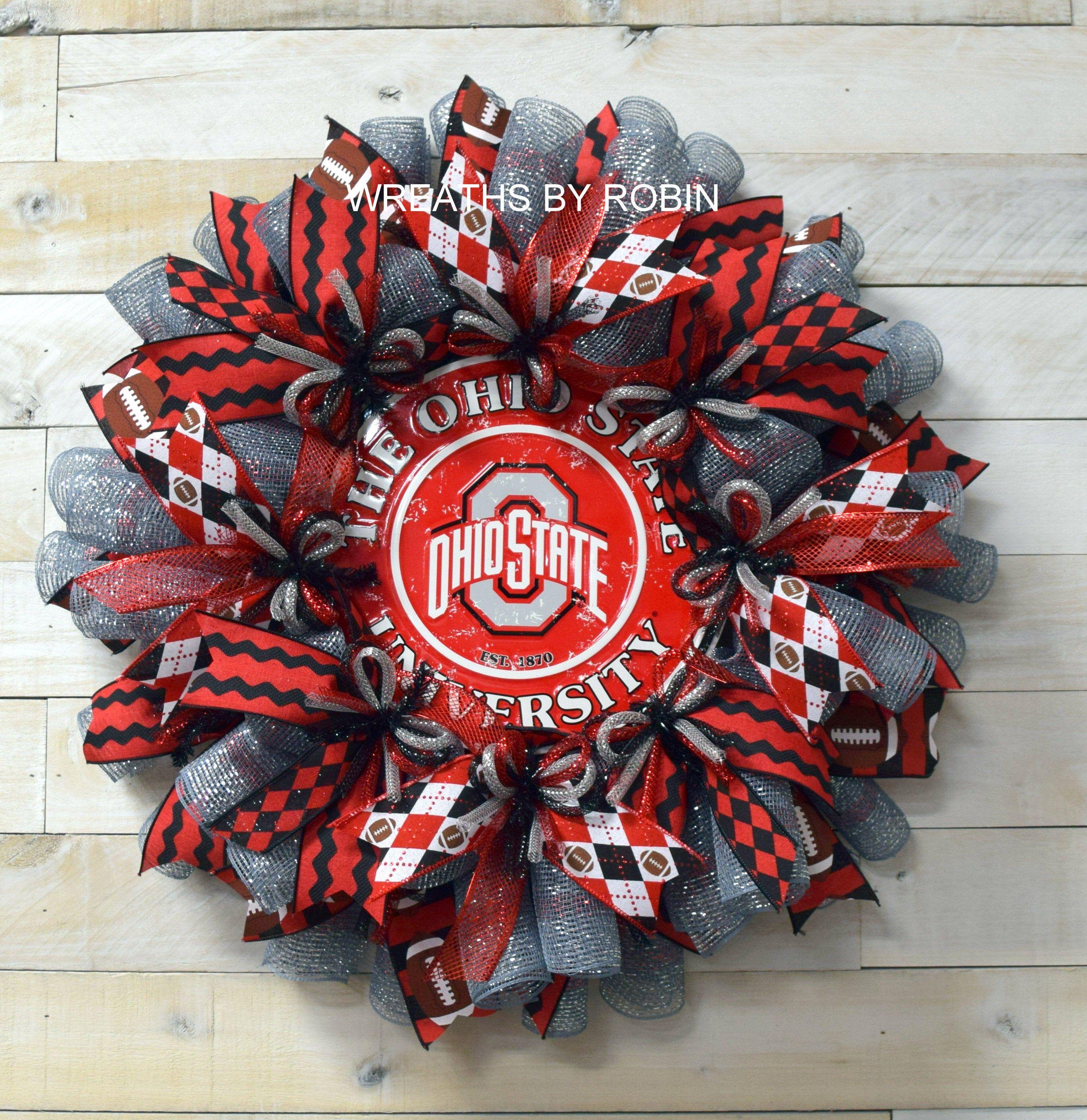 Photo of Ohio inspired Sports Wreath, Ohio inspired College Wreaths, Deco Mesh Wreaths, 4092