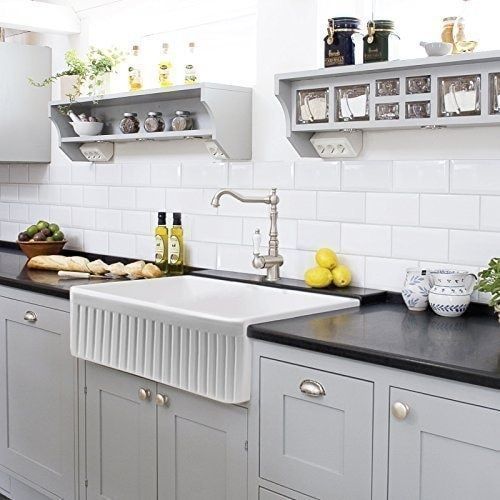 Farmhouse Kitchen Sink White Single Bowl Fireclay With Apron Front Undermount Or Overmount Design Fluted 30 Inches Kitchen Remodel Farmhouse Sink Kitchen White Farmhouse Sink