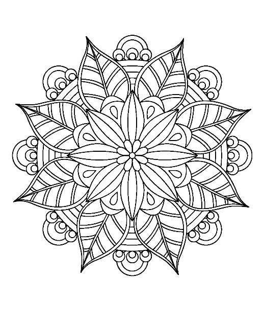 Tear Drops W Lg Side In Center Ovals Center Stone Mandala Coloring Mandala Coloring Pages Flower Mandala