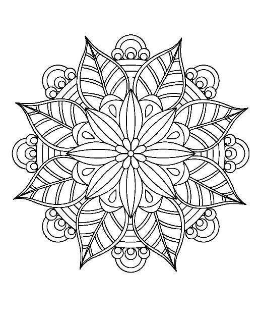 Tear Drops W Lg Side In Center Ovals Center Stone Mandala Coloring Mandala Coloring Pages Flower Mandala