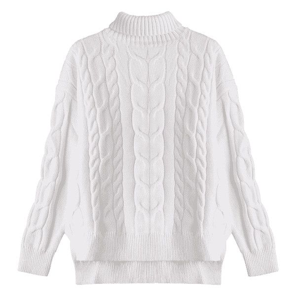 High Low Turtle Neck Cable Knit Sweater White S (€24) ❤ liked on Polyvore featuring tops, sweaters, white cable sweater, chunky cable knit sweater, white top, cable knit turtleneck sweater and cable sweater
