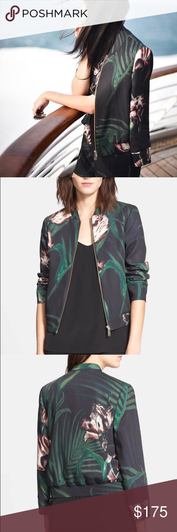 5e7e6d9e127b8 Ted Baker Azeeza Floral Print Bomber Jacket 🌺 Size 5