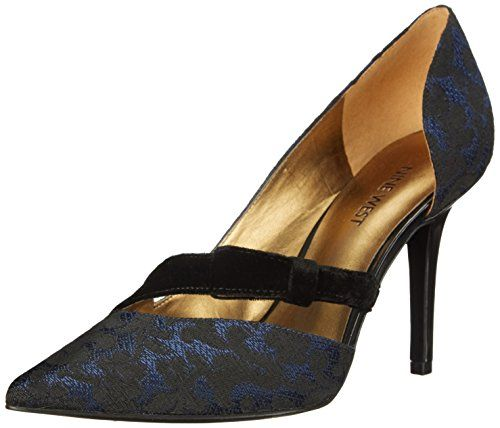 Nine West Women's Janice Fabric Dress Pump, Blue/Black/Bl..
