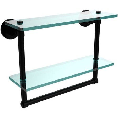 Washing Square Collection 16 inch 2-Tiered Glass Shelf with Integrated Towel Bar (Build to Order)