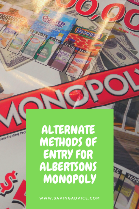 Albertsons Monopoly Alternate Method of Entry Get FREE
