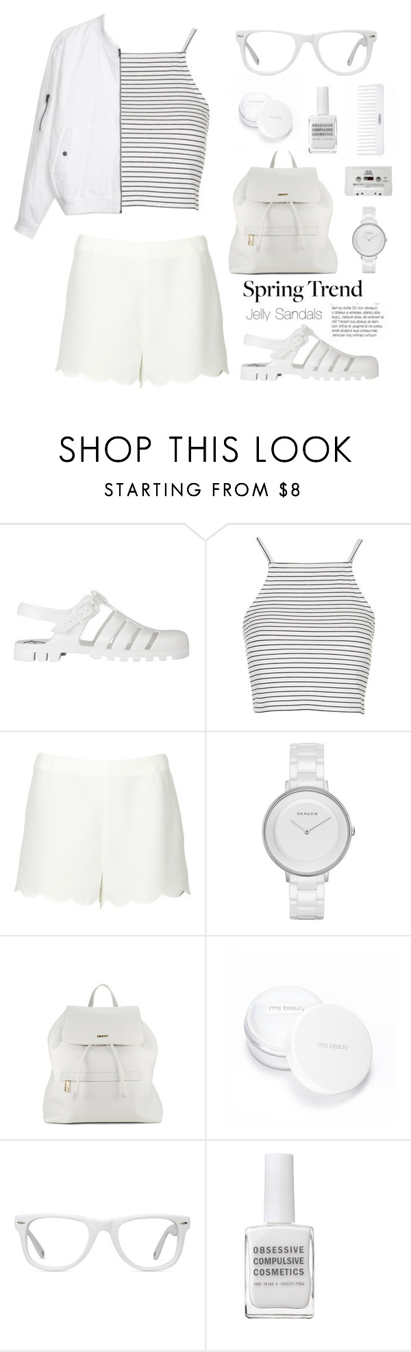 """""""Spring Trend - Jelly Sandals"""" by sofiasolfieri ❤ liked on Polyvore featuring JuJu, Topshop, Valentino, Skagen, DKNY, Conair, rms beauty, Muse, Obsessive Compulsive Cosmetics and CASSETTE"""