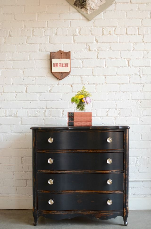 Short And Stout Black Dresser   Distressed With White Knobs